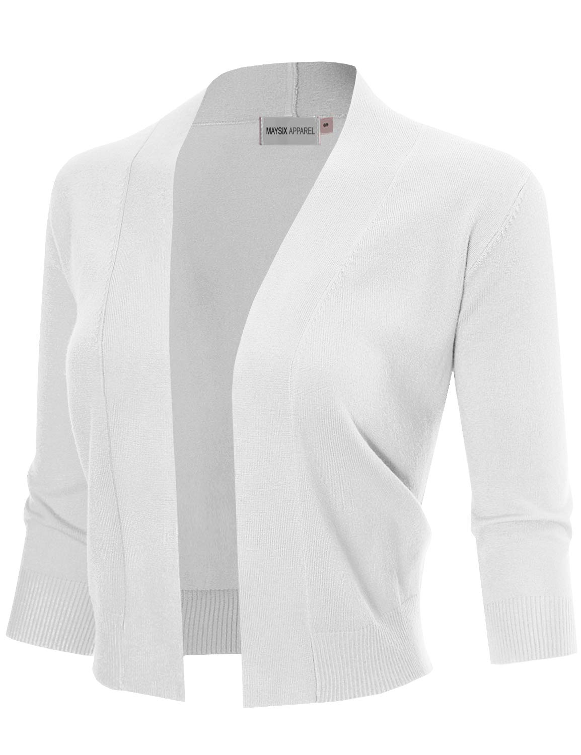 MAYSIX APPAREL Womens 3/4 Sleeve Solid Open Bolero Cropped Cardigan WHITE XL
