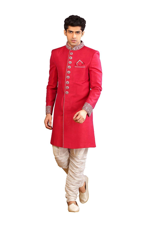 PinkCityCreations PCC Mens Indo Western Wedding Fuchiya Designer Partywear Traditional R-25