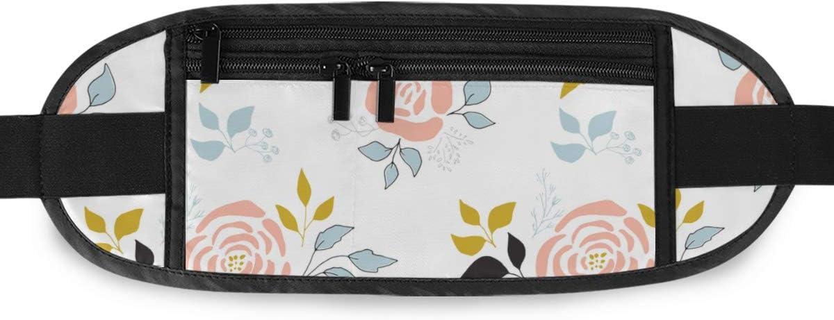 Travel Waist Pack,travel Pocket With Adjustable Belt Floral Pattern Part Big Flower Running Lumbar Pack For Travel Outdoor Sports Walking