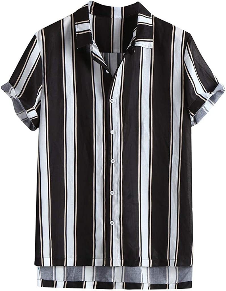 HTOOHTOOH Mens Tops Striped Short Sleeves Button Polo T-Shirt