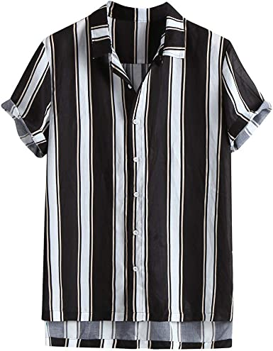 ACEBABY Camisas Hawaianas Hombre Moda Camisa de Manga Corta con Solapa, Estampado de Rayas, Camiseta Holgada Botón Informal Playa Camisas Negro: Amazon.es: Ropa y accesorios