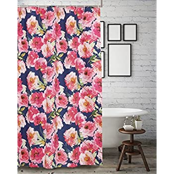 Barefoot Bungalow Peony Posy Shower Curtain One Size Navy
