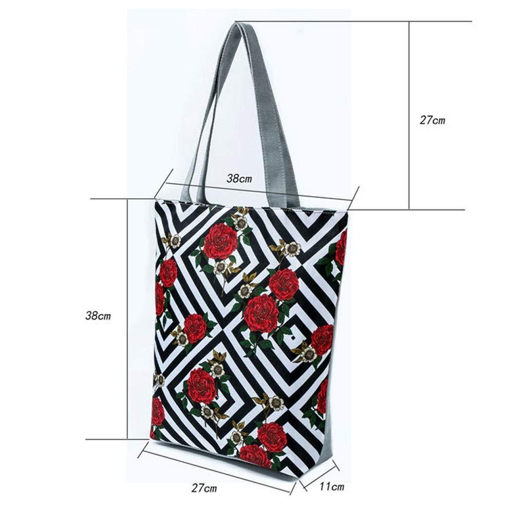 HLD kreativ fjäril tryck axelväska dam dam randig blomma shoppingväska strandväska messengerväskor (färg: B) E