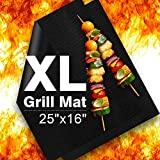 """Delamu BBQ Grill Mat, XL Grill Mats Non Stick, 25""""x16"""", 0.3mm, Set of 2 Heavy Duty, Reusable, Easy to Clean, FDA-Approved PTFE Teflon Fiber Grill Roast Sheets for Gas, Charcoal, Electric Grill"""