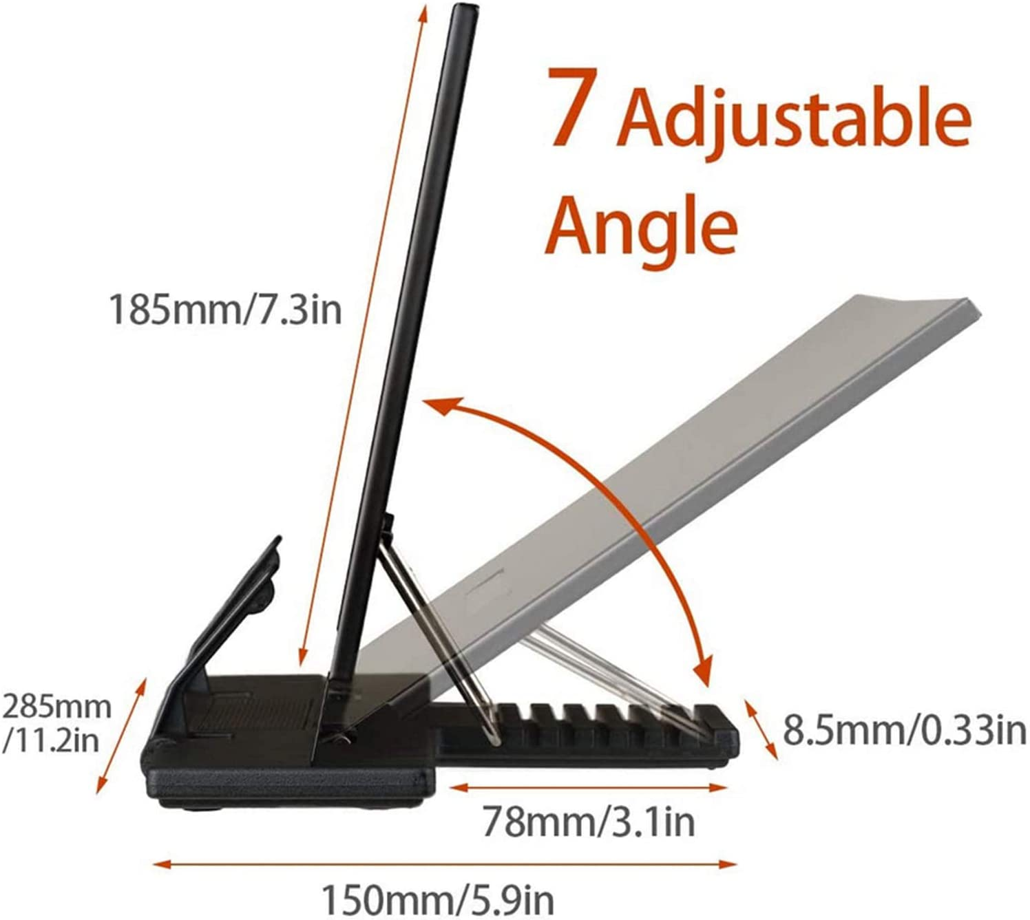 Anti-Slip Stable Bookend Cookbook Stand Cookbook Cook Book Holder Book Stand Recipe Cookbook Kitchen Bookrest Reading Rest Metal Portable Bookrest Adjustable Angle for Recipes Ipad Tablets (Black)