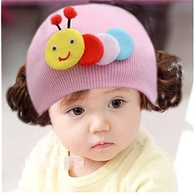 Enfants Bouchon Bonnet en tricot chaud bandeau bandeau perruque Chapeau Princesse Fille Style F rose rose 36 Months