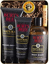 Burt's Bees Men's Gift Set, 5 Natural Products in Giftable Tin – Shave Cream, Aftershave, Body Wash, Hand Salve, Original Beeswax Lip Balm
