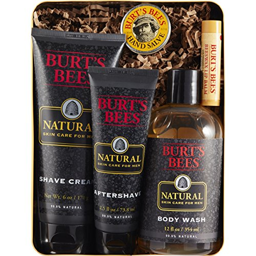 - Burt's Bees Men's Gift Set, 5 Natural Products in Giftable Tin – Shave Cream, Aftershave, Body Wash, Hand Salve, Original Beeswax Lip Balm