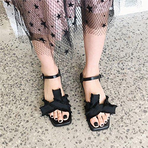 Cabeza Dedo La Sandalias Los Flat Un black Sandalias Crossover Version Flecos De Nueva Cuadrada con Coreana Y Toe 8w8rSPq