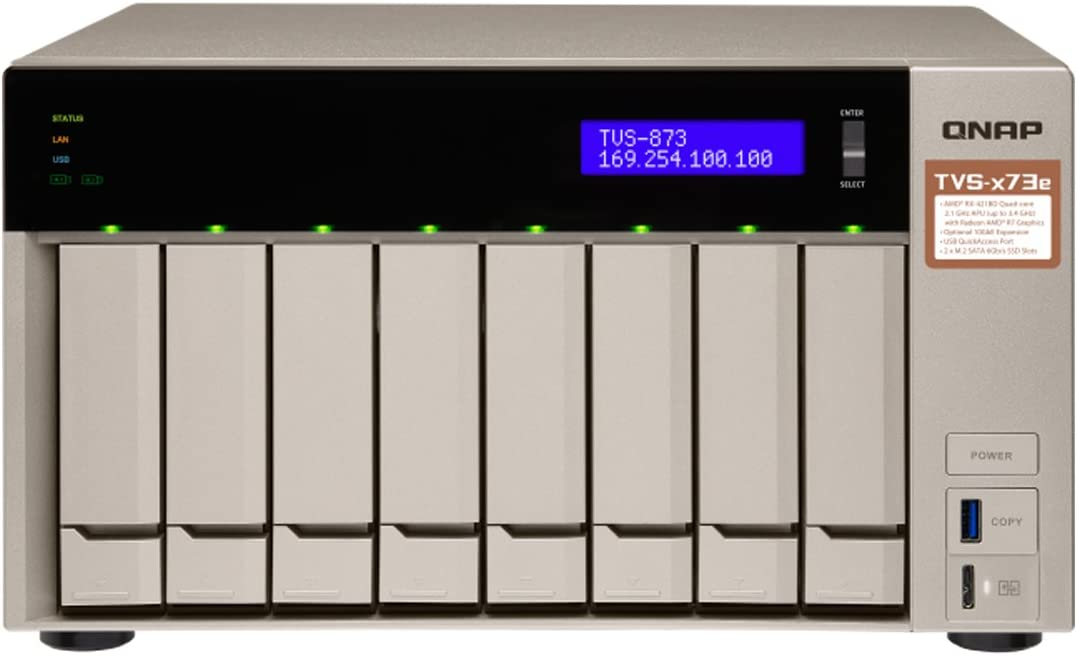 QNAP 8-bay NAS/iSCSI IP-SAN, AMD R series Quad-core 2.1GHz, 8GB RAM, 10G-ready (TVS-873e-8G-US)