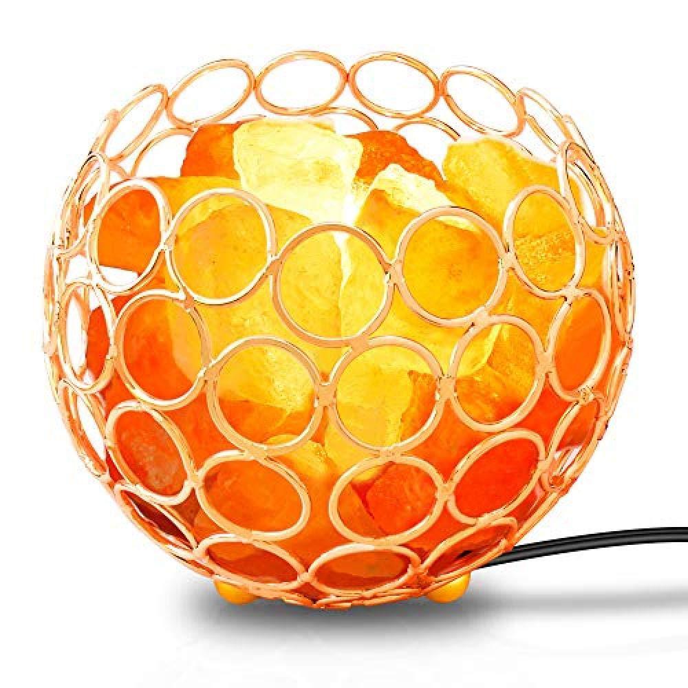 Lampe veilleuse en Cristal de sel Naturel avec Ampoule à Base de Bois et éclairage domotique