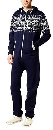 SkylineWears Men's Fashion Onesie Printed Playsuit Jumpsuit Diamond Navy XXL