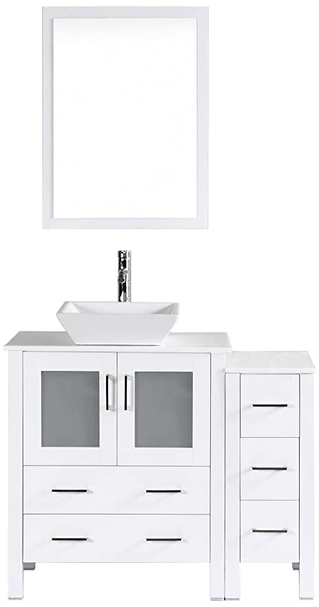 Cool Bosconi Bathroom Vanities Aw130S1S Single Vanity With Mirror Sink Side Cabinet And Soft Closing Doors 42 White Download Free Architecture Designs Rallybritishbridgeorg