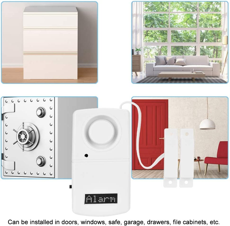 Alarma antirrobo para Puertas y Ventanas Alarma de casa 120 s/úper Alto decibelio//Alimentado por bater/ía//F/ácil de Instalar//Seguridad Las 24 Horas