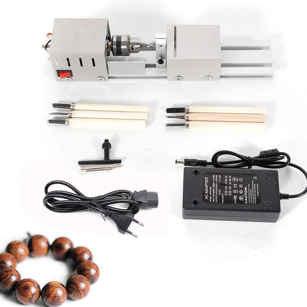 OUKANING Drechselbank Mini Lathe Korn Maschine zur Holz DIY Lathe 100W 12-24VDC