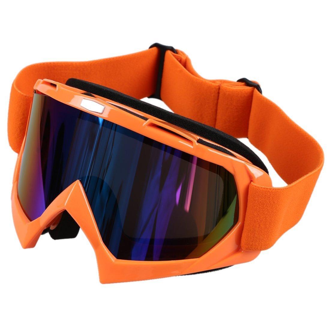 Gafas de esqui - SODIAL(R)Gafas de esqui de motocicleta resistente a polvos ATV fuera de la carretera de motocross de un solo lente de color naranja