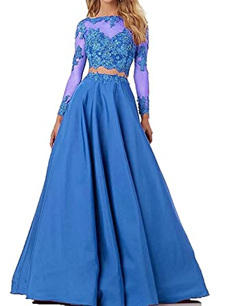 Lianai See Through Two Pieces Lace Beaded Prom Dresses Long Sleeves Satin Evening Gowns Blue,