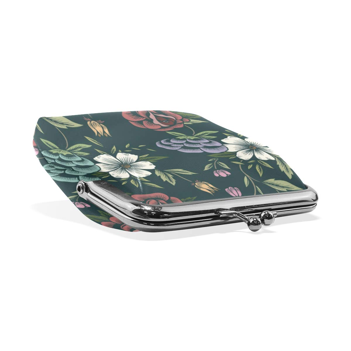 TIKISMILE Floral Pattern Leather Fashion Buckle Cute Coin Purse Bags Wallet