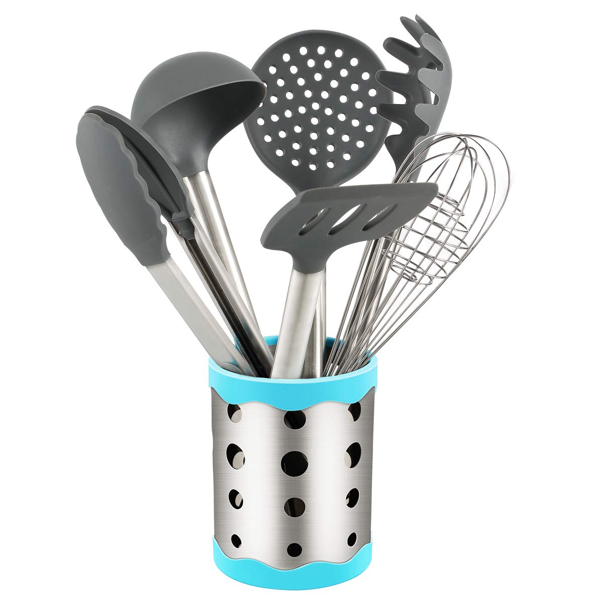 Vasdoo Silicone Kitchen Utensil Set,6 Pieces Cooking Utensil Set with Utensil Holder, Nonstick Cooking Utensil for Cookware with Stainless steel Handle,Gray