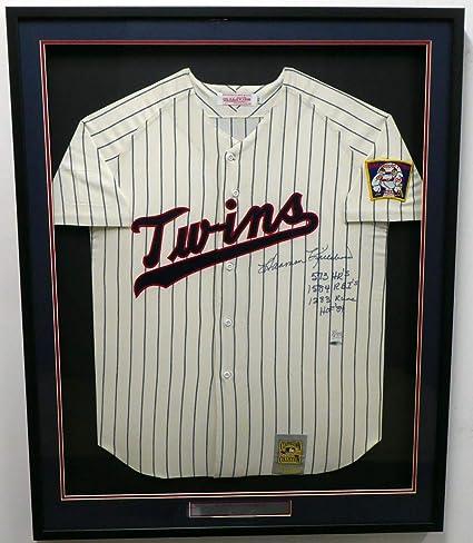 "3b683a27726 Minnesota Twins Harmon Killebrew Autographed Framed Mitchell & Ness  Jersey""573 HR's, 1584 RBI"