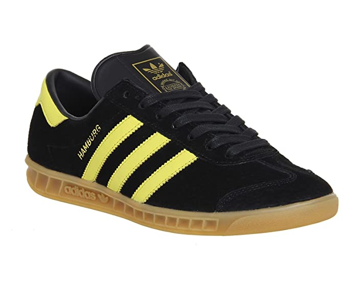 adidas Hamburg Herren/Damen Unisex Schuhe Schwarz mit gelben Streifen