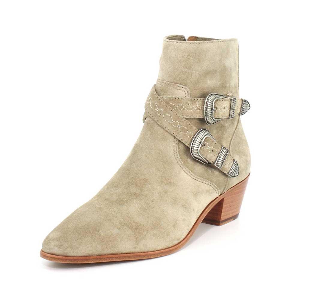 FRYE Women's Ellen Buckle Short Western Boot B01H4X9L14 7 B(M) US|Ash Soft Oiled Suede
