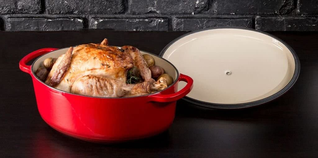 Lodge 7 Quart Oval Enameled Dutch Oven. Classic Red Enamel Cast Iron Dutch Oven Red
