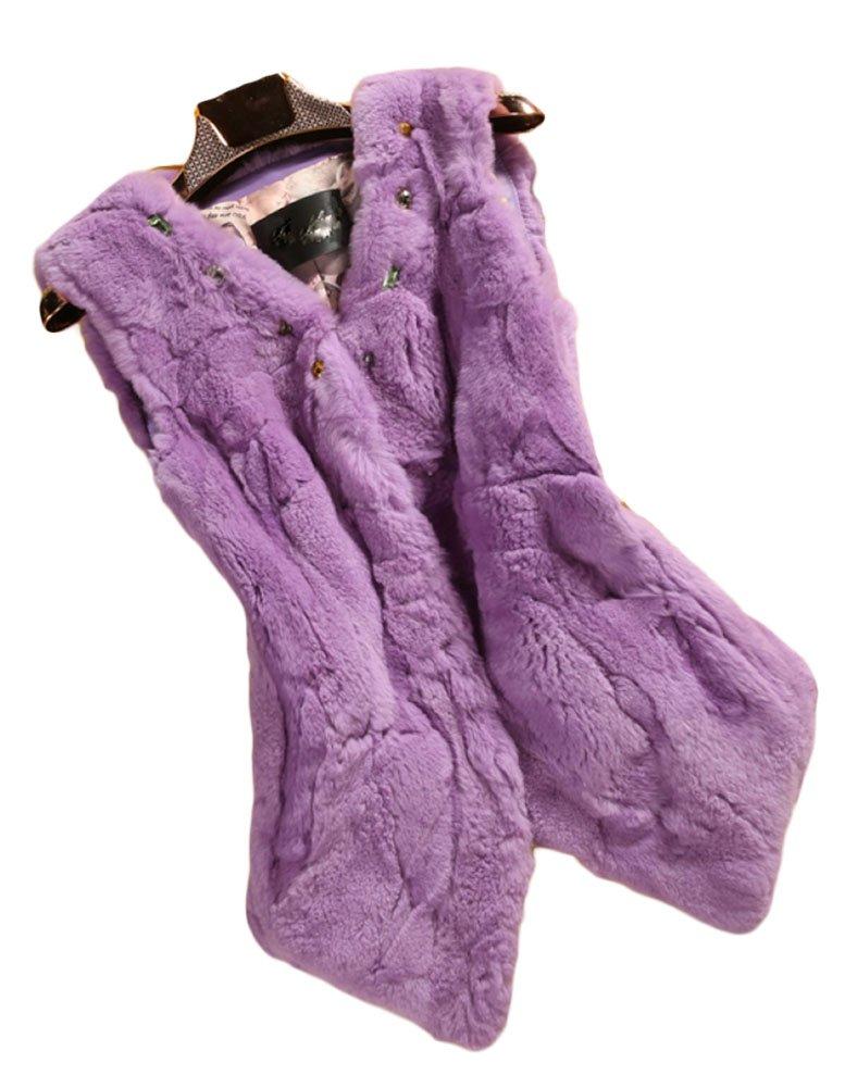 Queenshiny New style Women's 100% Real Rex Rabbit Fur Vest-Purple-S(4-6)