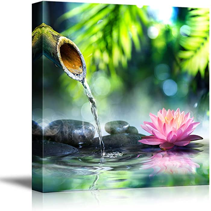 Zen Garden with Black Stones and Pink Waterlily Spa Meditation Concept - Canvas Art Wall Art - 24
