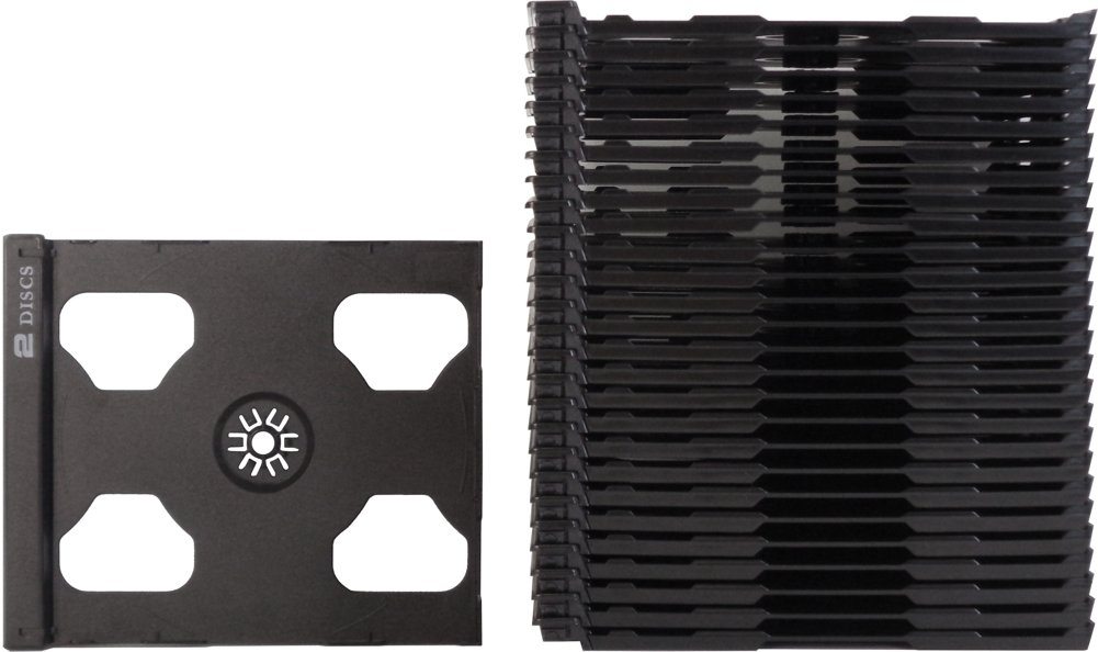 SquareDealOnline - CD2R80SMDG - CD Smart Trays - Slimline - 2 Disc Hinged - Black (25-Pack) by Square Deal Recordings & Supplies