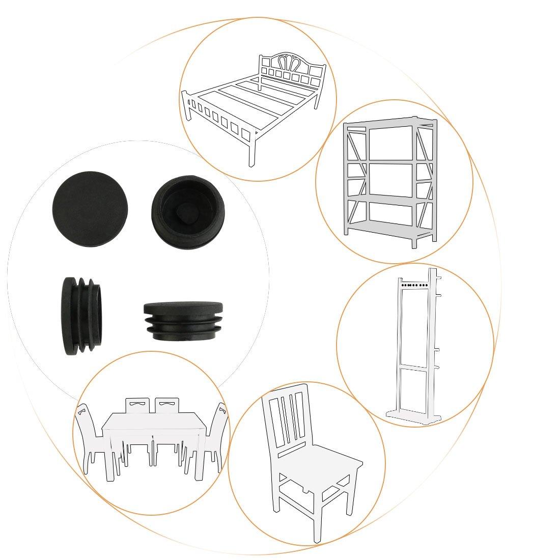 sourcingmap/® 2 Pi/èces 38 mm de diam/ètre en plastique ronde Embout Patin Pied de Meuble Chaise Table Tube pour tuyaux