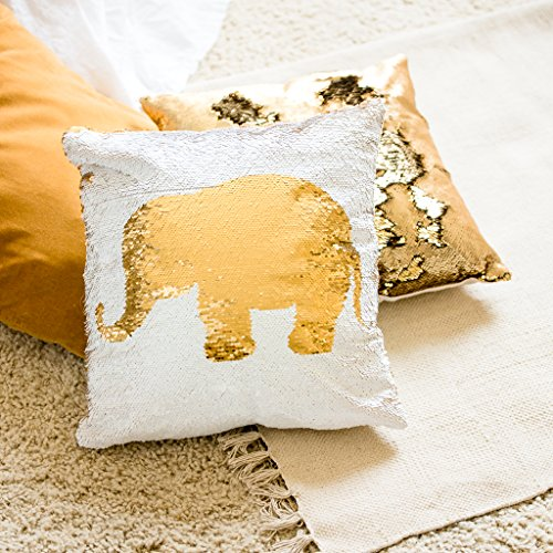 Sequin Elephant Throw Pillow : Throw Pillows > Decorative Pillows Inserts And Covers > Bedding > Home And Kitchen Desertcart