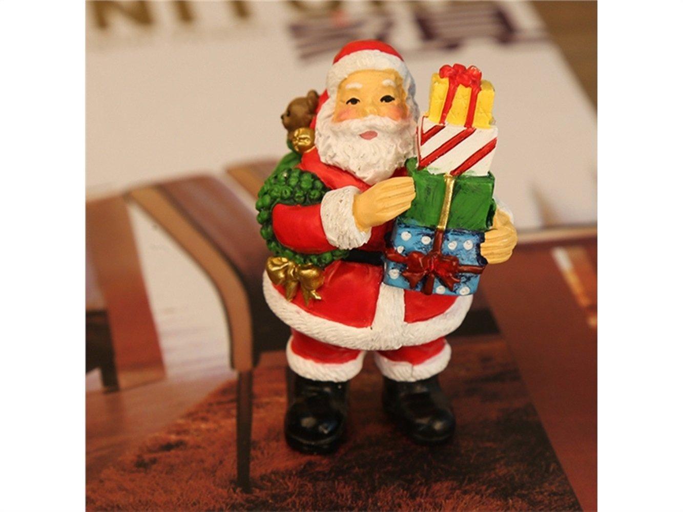 Blueqier Mini Resina Miniatura Artigianato di Natale Decorazione Piccoli animali Ornamenti di Babbo Natale Fai da te Giocattoli regalo di Natale (colorato) Ornamento