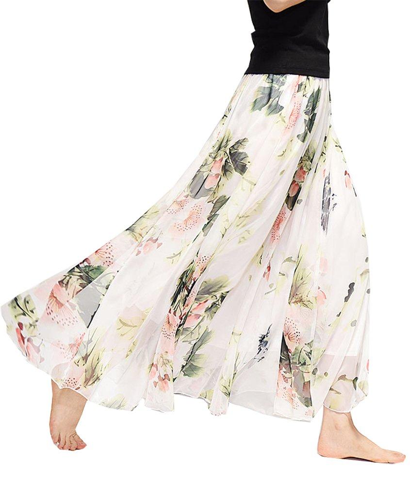 Women's Chiffon Long Maxi Skirt Elastic Waist Bohemian Beach Skirt (Waist:19.5''-39.5'',Length:31.5'', 61 Beige)