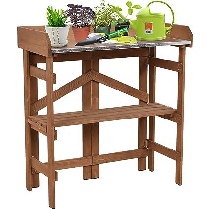 Amazon.com : Giantex Metal Top Wooden Potting Bench Garden ...