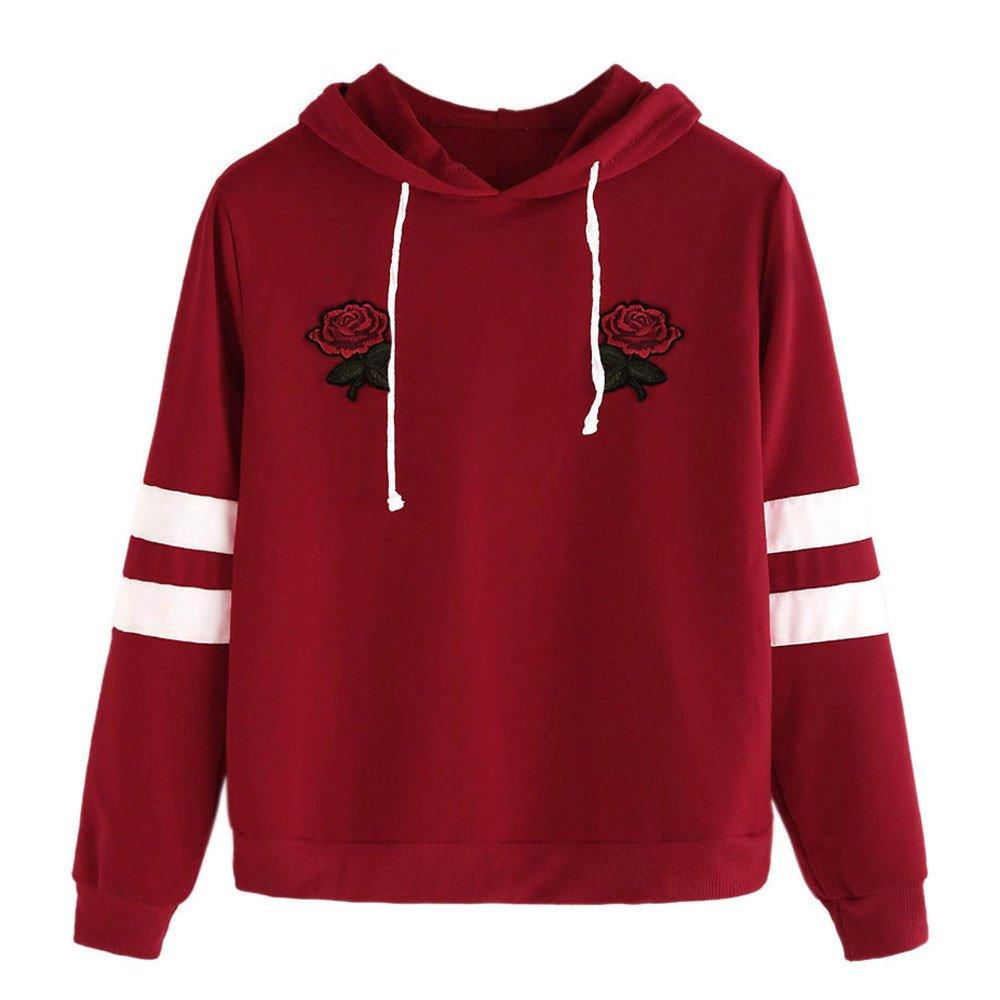 Yonlanclot Women s Long Sleeve Pullover Sweater Top Autumnn Rose Prints  Hoodies Hooded Sweatshirt Tops School White Bars Badge Drawstring Blouse   ... be6ce75d4