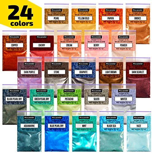 DIY Soap Making Mica Powder Organic for Soap Molds 36 Color Pigments Shimmer Mica Powder Candle Making,Resin Dye Bath Bomb Dye Colorant