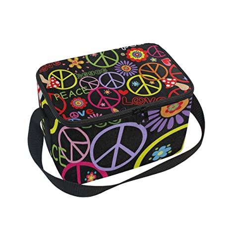 29ee64b17e88 Amazon.com: Lunch Bag Hippie Peace Mushroom Colorful Womens ...