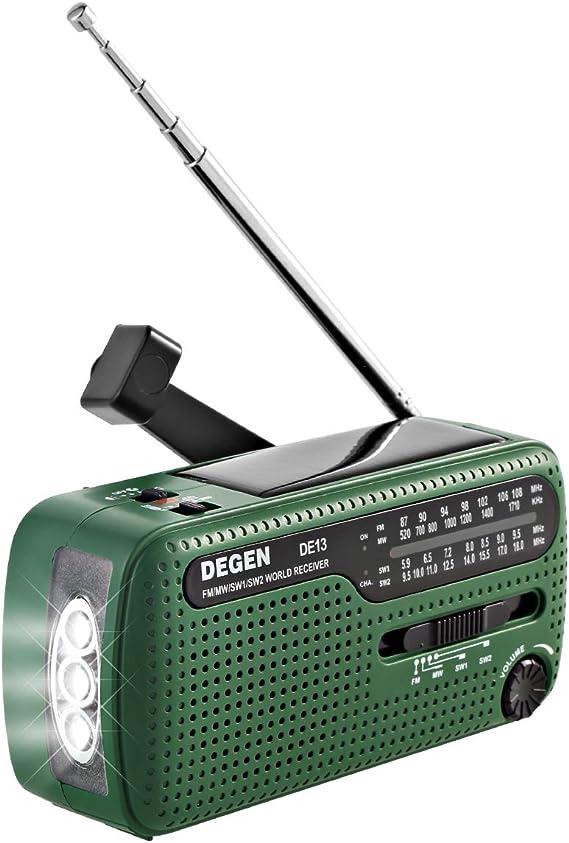 Outdoor Solar Hand Crank Self Powered LED Flashlight FM MW SW Weather Radio