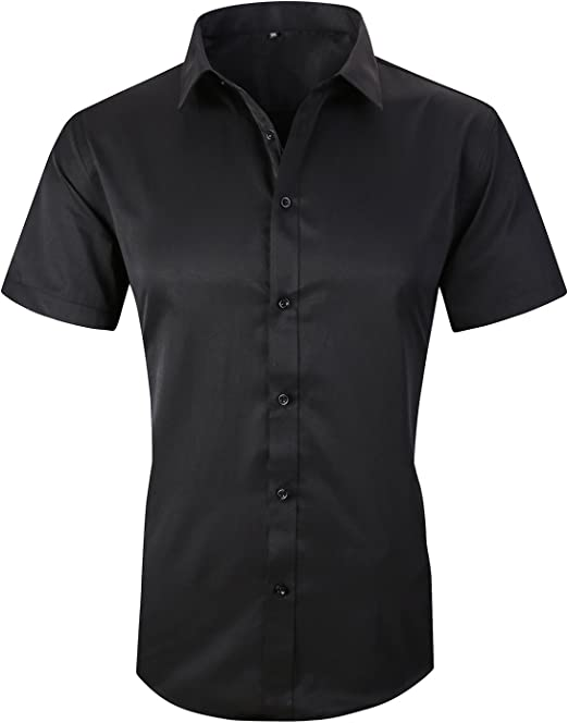 Beloved Mens Button Down Collar Summer Casual Short Sleeve Slim Fit Top Polo Shirts Black M