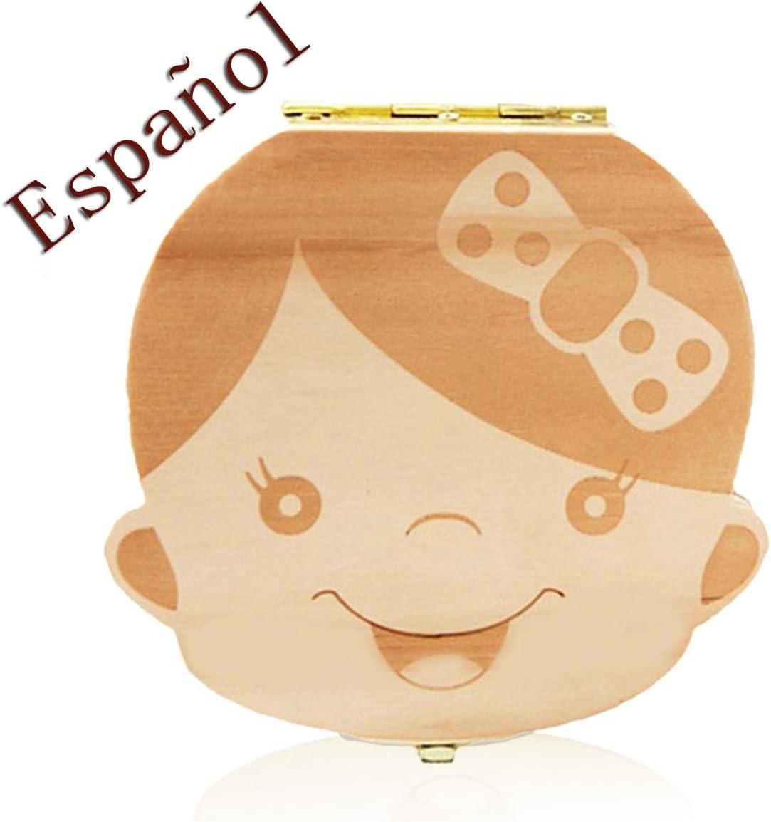 Outflower Madera de Caja Almacenamiento de Dientes Leches Caja de Reci/én Nacidos Recuerdo para Beb/és Regalos ni/ña