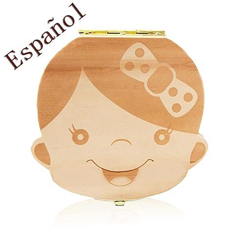 Outflower Madera de Caja Almacenamiento de Dientes Leches Caja de Recién Nacidos Recuerdo para Bebés Regalos