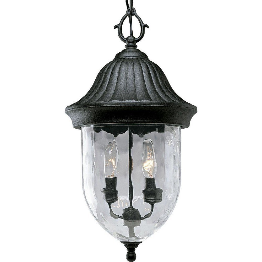 Progress Lighting P5529-31 1-Light Chain Hung Lantern with Optic Hammered Clear Glass to Complement The New Fieldstone Finish, Textured Black