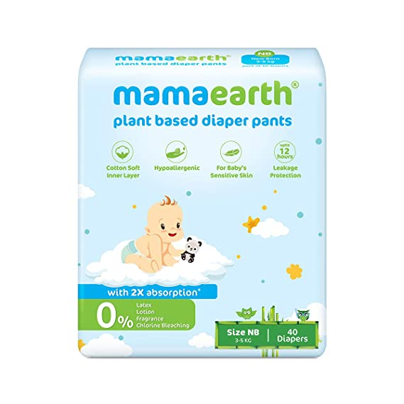 [Apply coupon] Mamaearth Plant-Based Diaper Pants for Babies – 3-5 kg (Size NB - 40 Diapers)