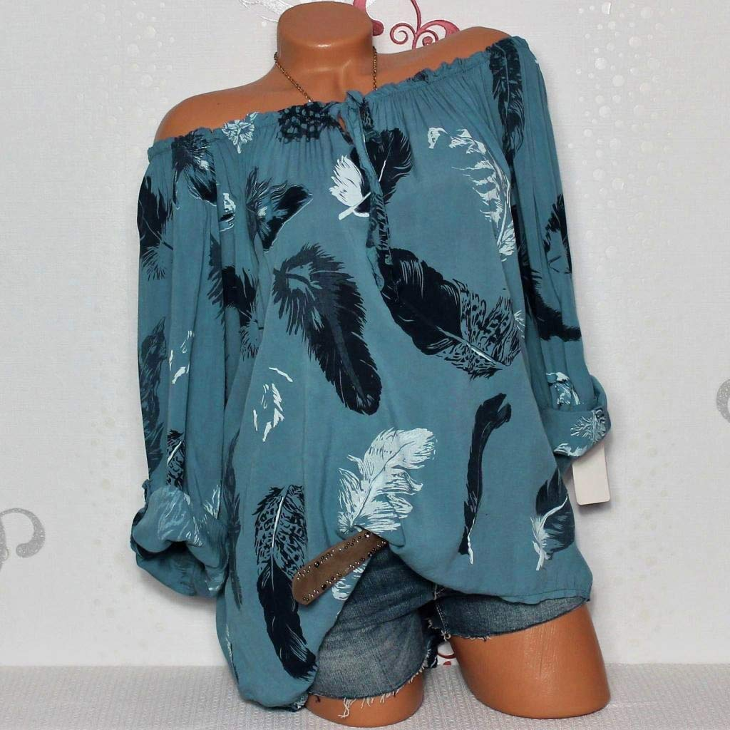 Keliay Womens Tops for Summer,Women Casual Cold Off Shoulder Feather Print Daily Long Sleeve Tops Shirt Blouse Blue by Keliay