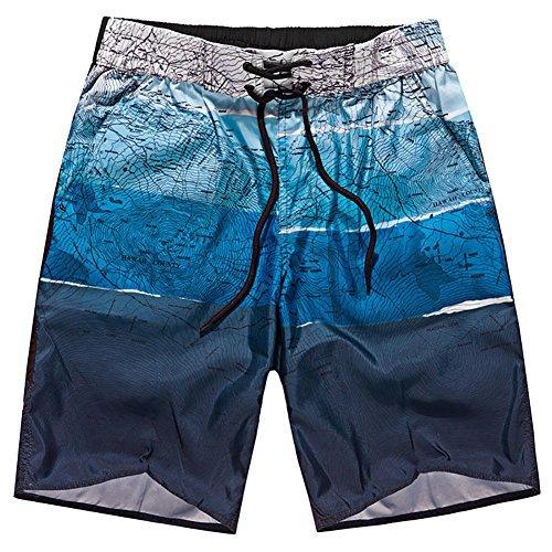 iShine Surf Men's Printing Tropical Quick Dry Barracuda Bathing Suits Swimwear Beach Swim Trunks Casual Board (Barracuda Trunk)