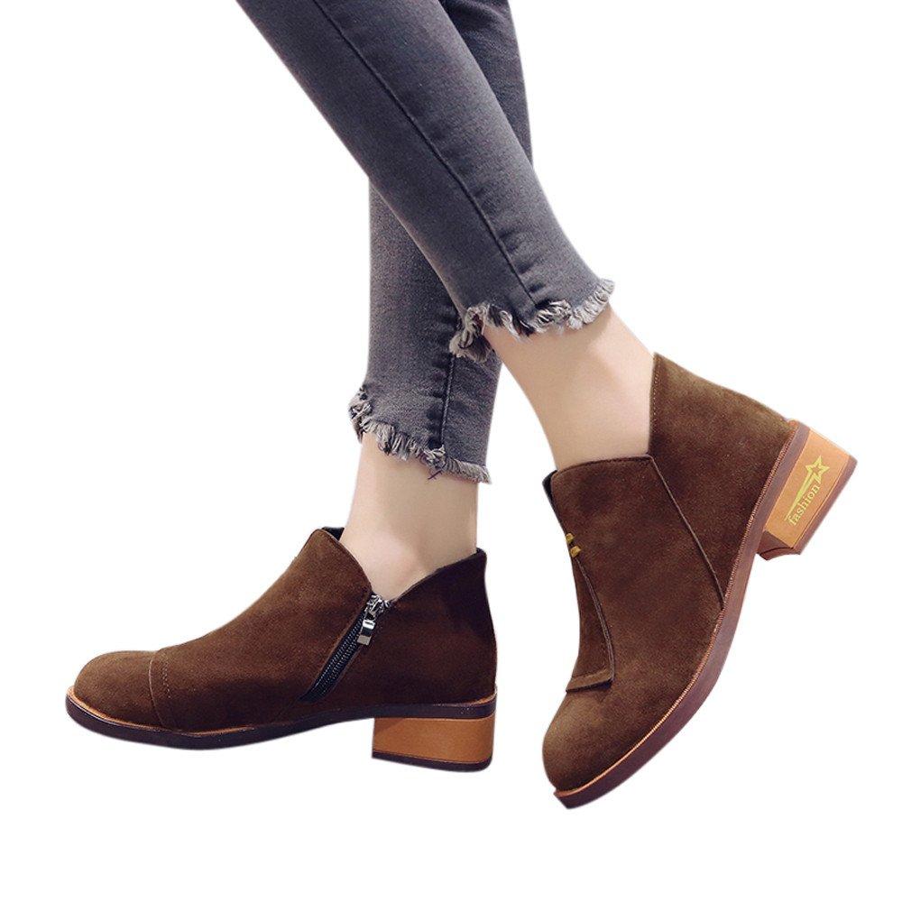 Femmes Chaussures, Sonnena Bottes Femmes Dames Automne Chaussures Chaussures Classiques Cheville Solide Roman Bottes Courtes Chaussures Zipper Solide Flock Bout Round Simple Shoes