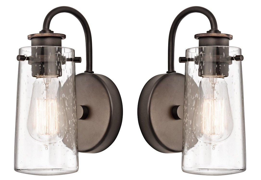 45457OZ Braelyn 1LT Wall Sconce, Old Bronze Finish with Clear Seedy Glass (Old Bronze - 2 Pack)