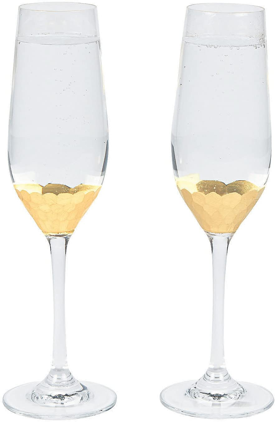 Fun Express - Champagne Flutes W/gold Scallop (2pc) for Wedding - Home Decor - Entertaining - Drinkware - Wedding - 2 Pieces