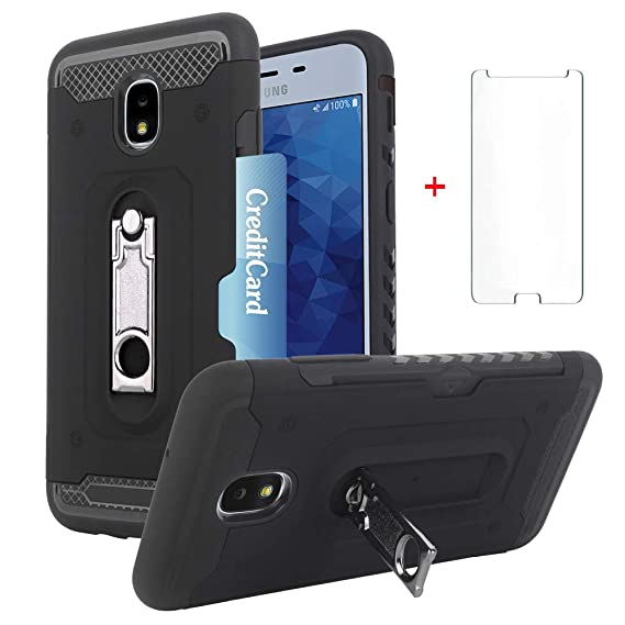 Samsung Galaxy J7 Star J7 Refine J7 2018 J7V V 2nd Gen J737V Wallet Phone  Case Women Protective Cover with Tempered Glass Screen Protector Card  Holder